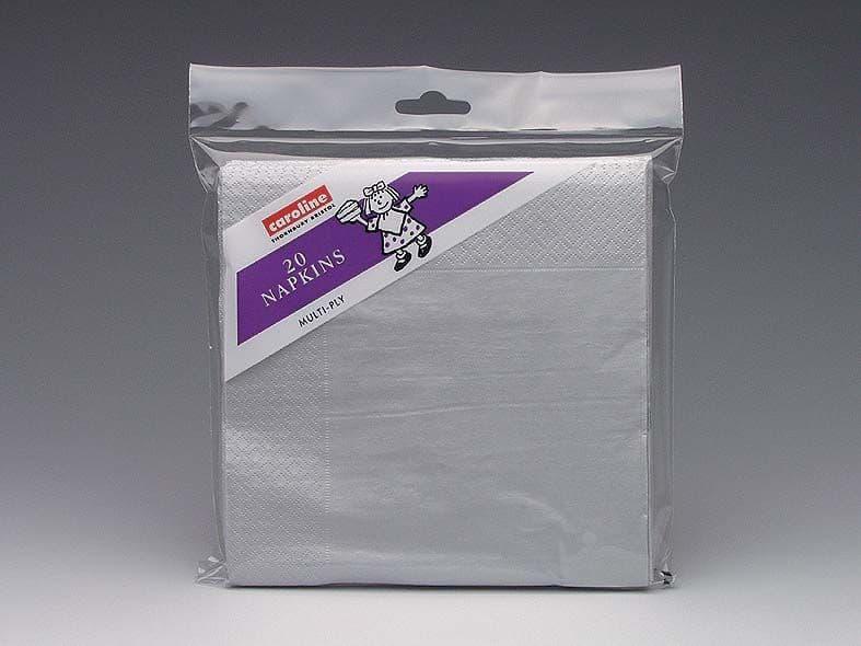 Caroline Napkins - Silver 20x33cm, 20 Pack